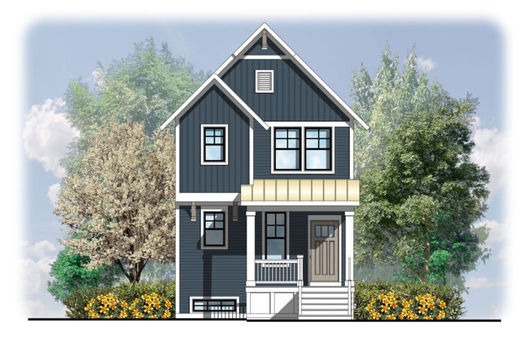 Home Plans, The Manistee - Manistee-1878-Elevation-A-768x497